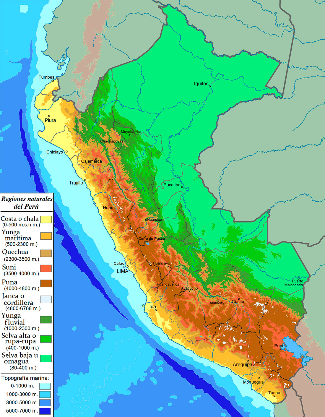 bird habitats peru map